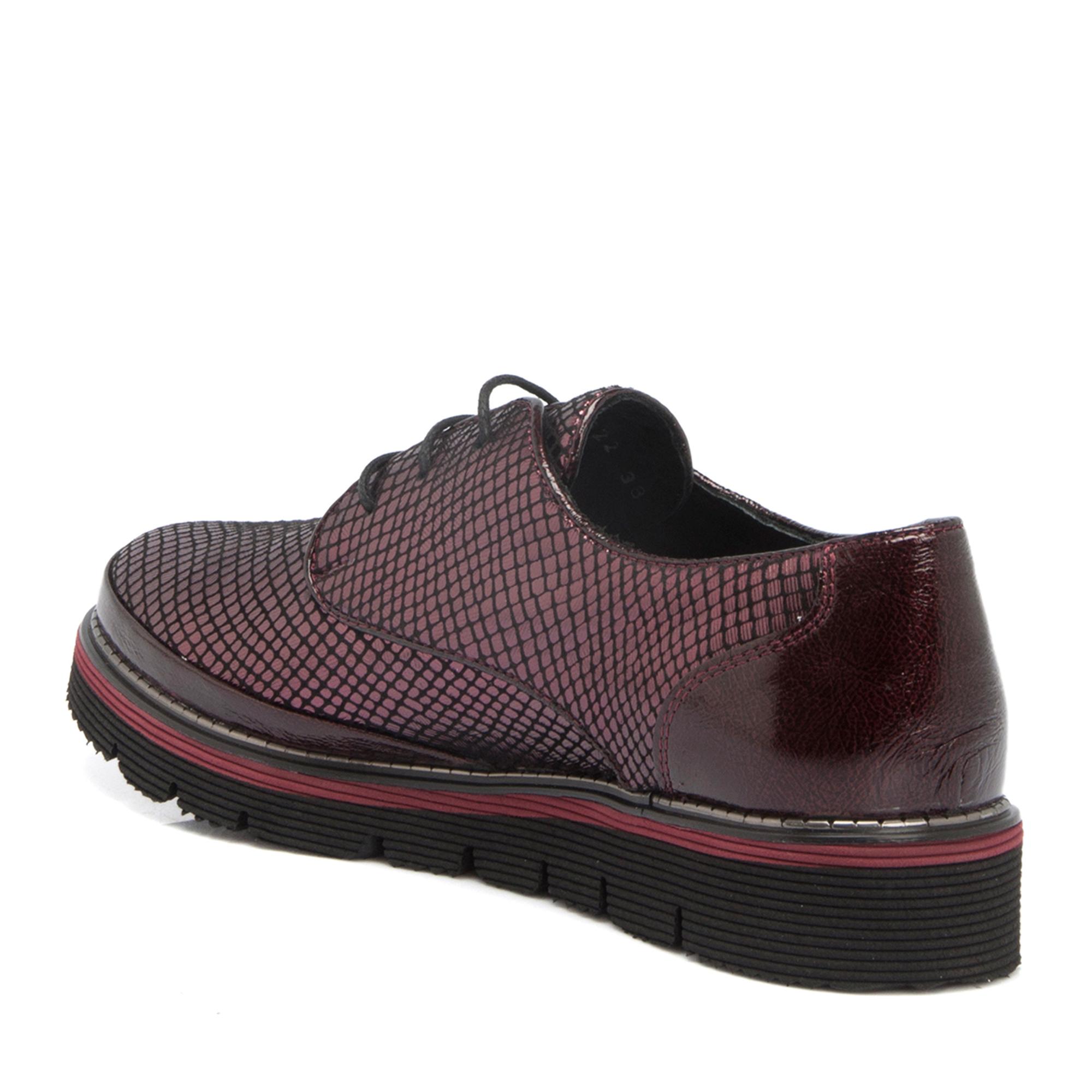 Bordo Deri Kadın Ayakkabı 64140O2T