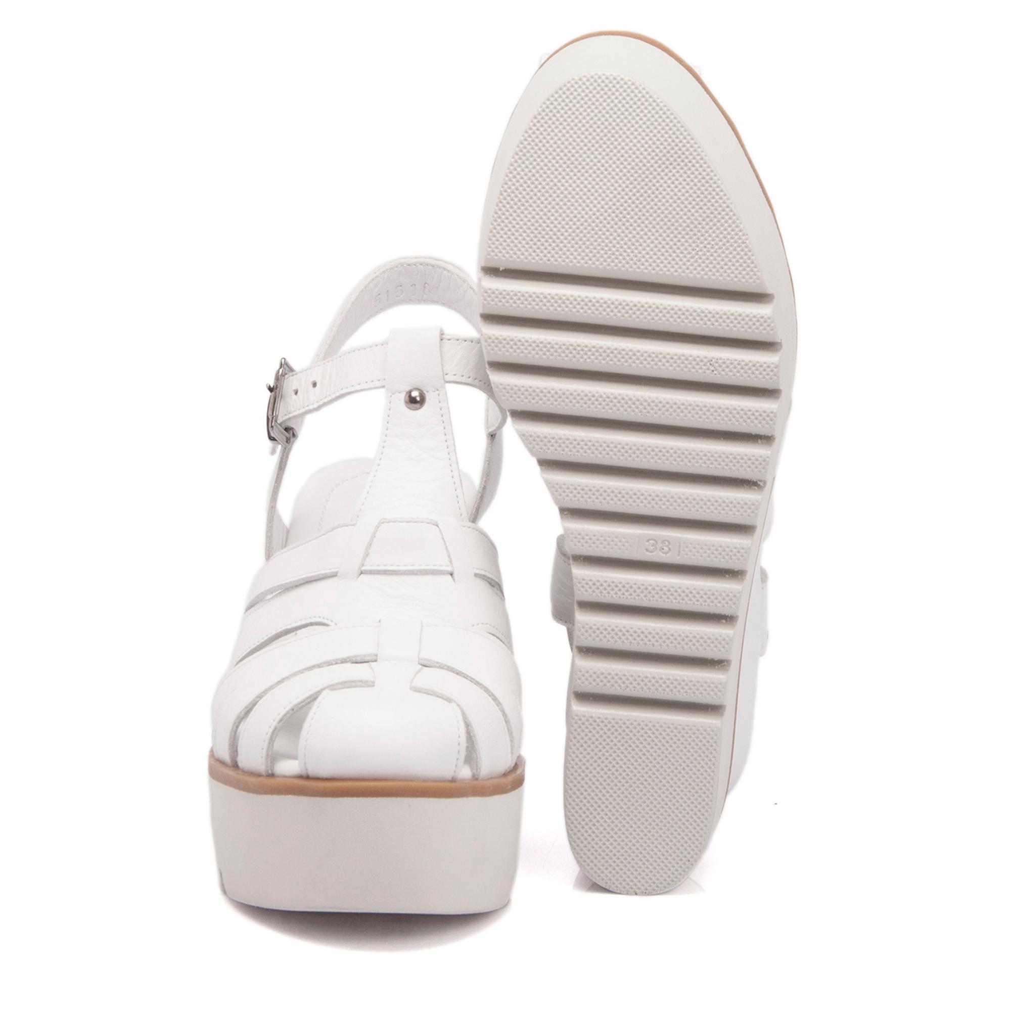 Beyaz Deri Kadın Sandalet 63752A26