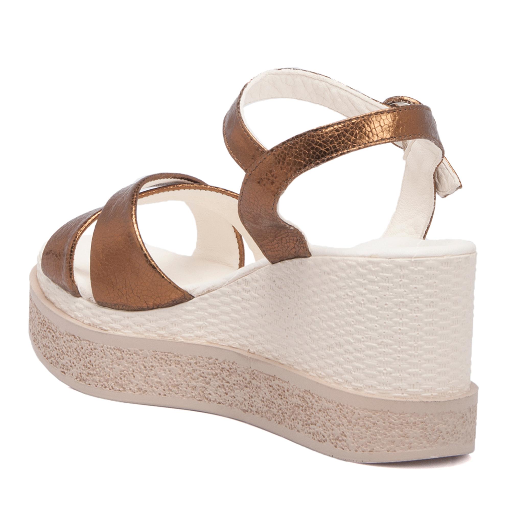 Bakır-Simli Deri Kadın Sandalet 63917O0U