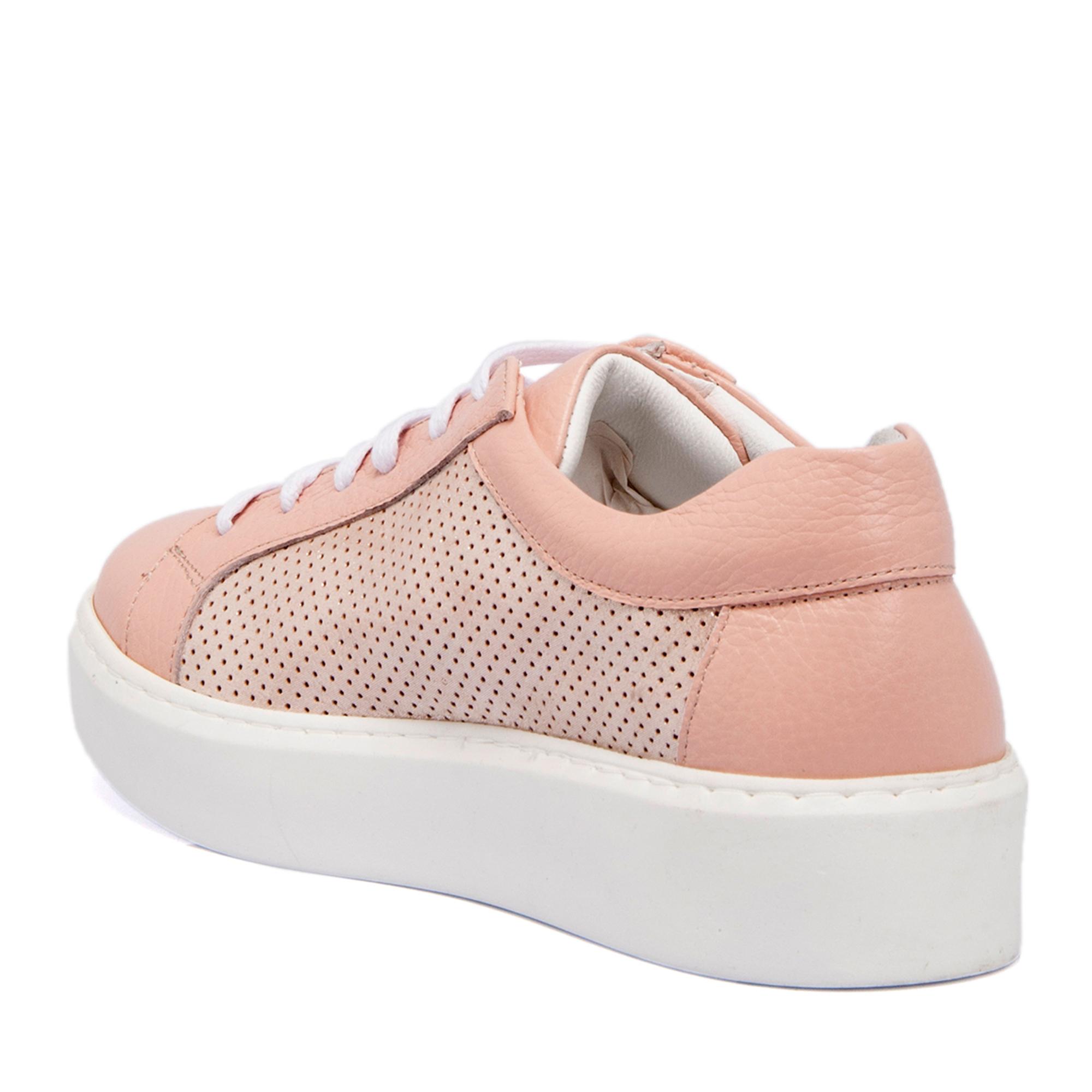 Pembe -Deri -Simli Deri Kadın Ayakkabı 64207O1D