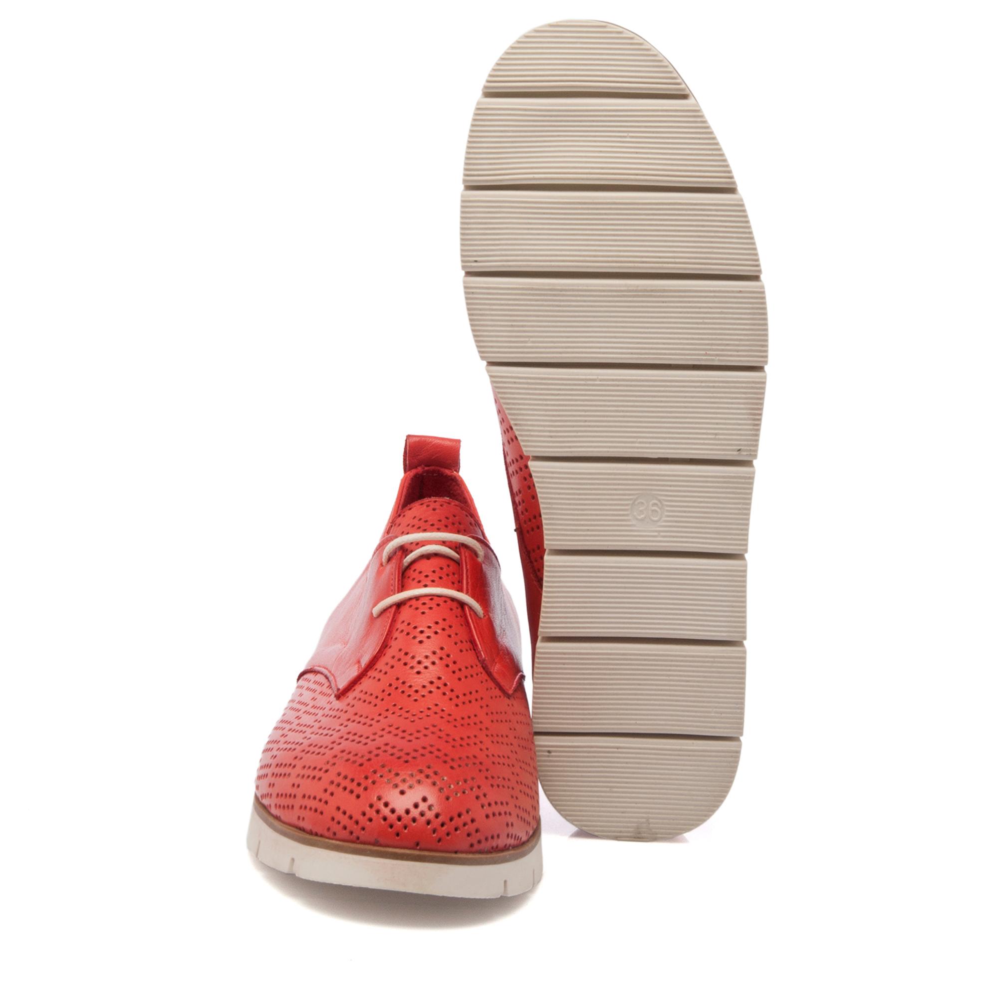 Kırmızı Deri Kadın Ayakkabı 64219A30