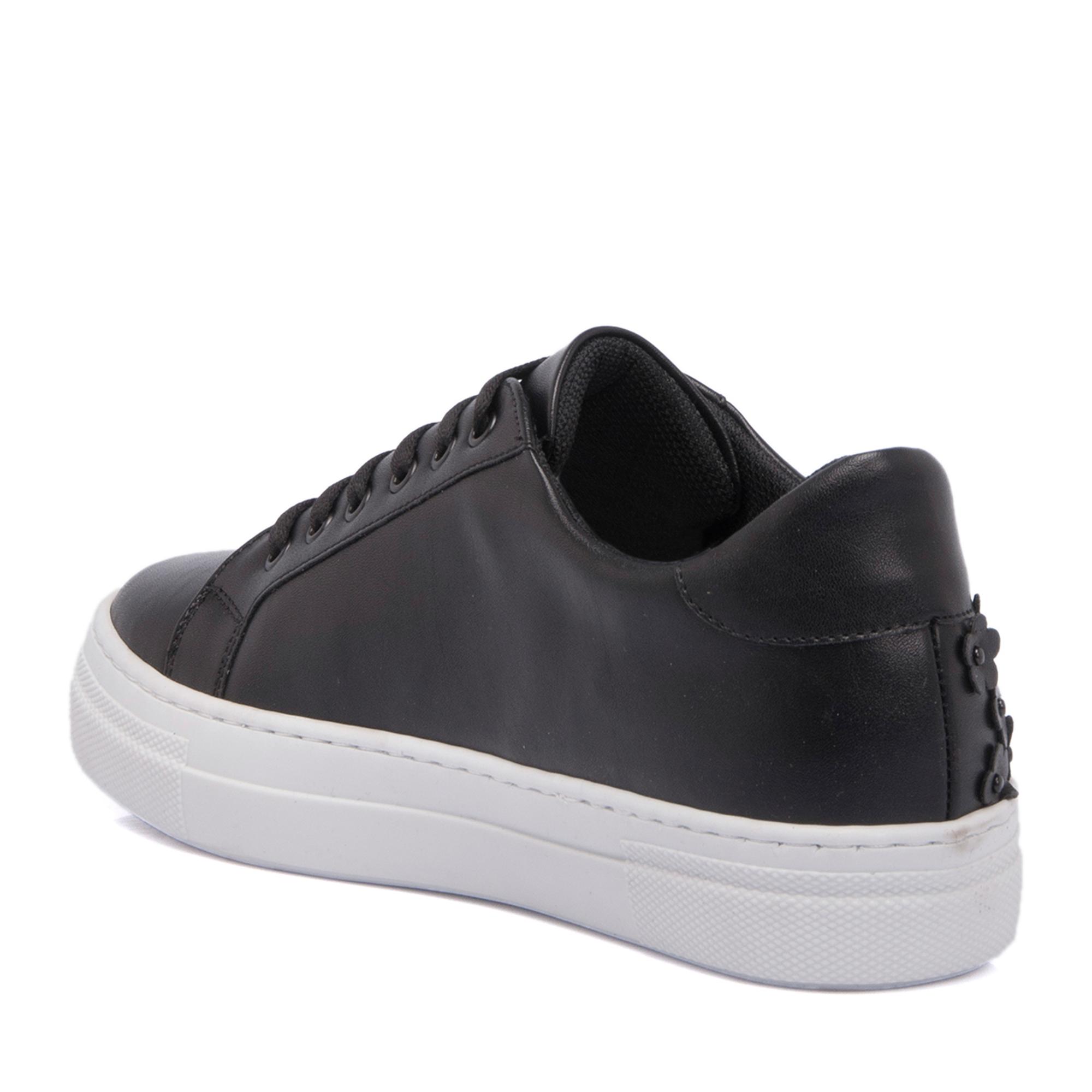 Siyah - Kırmızı Deri Kadın Ayakkabı 64259F1J