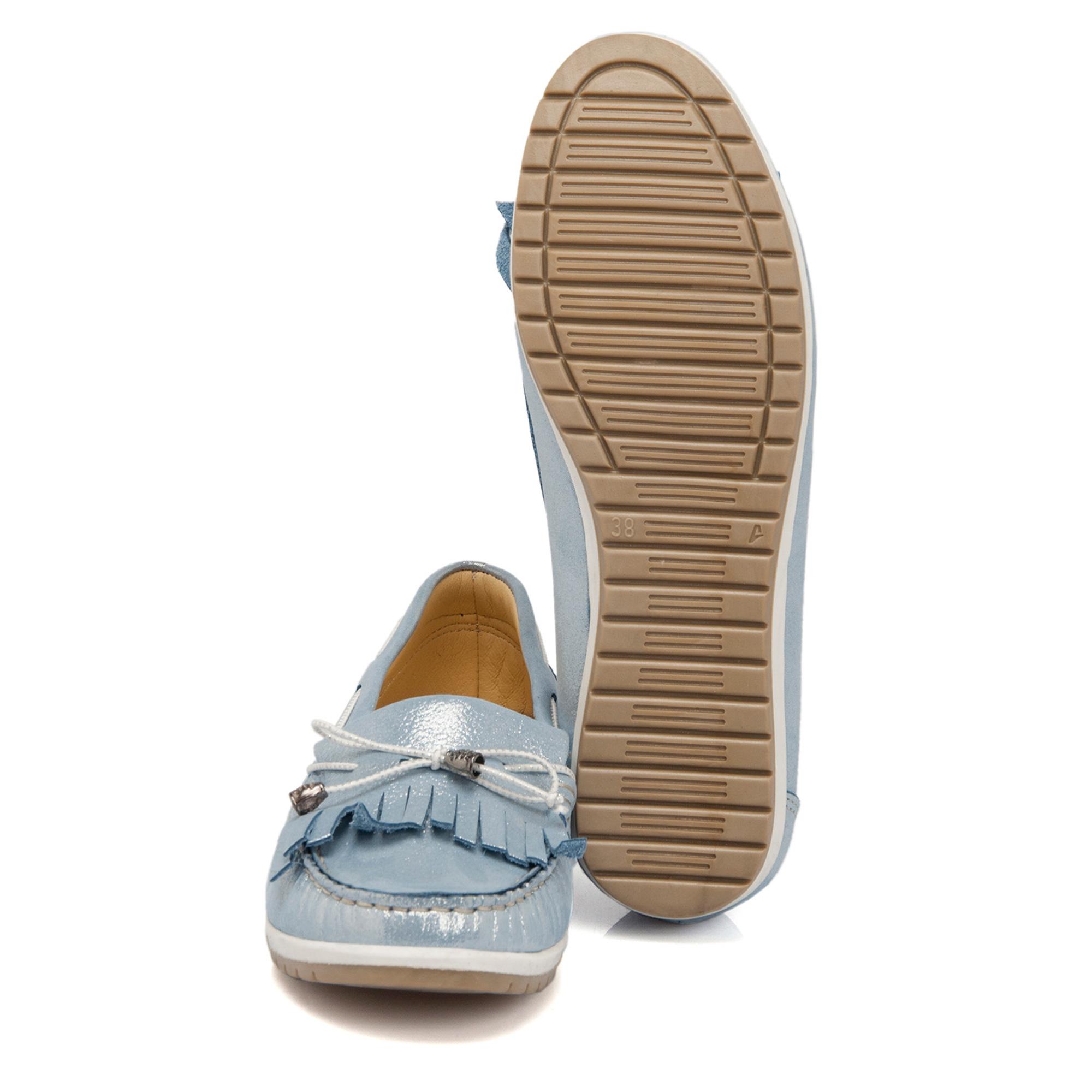 Mavi-Simli Deri Kadın Ayakkabı 64297N0O